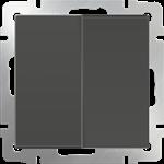 Изображение Выключатель двухклавишный проходной (серо-коричневый)