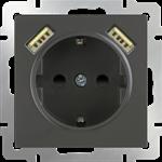 Изображение Розетка с заземлением, шторками и USBх2 (серо-коричневый)
