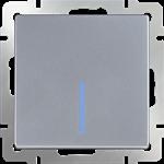 Изображение Выключатель одноклавишный проходной с подсветкой (серебряный)