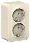 Изображение SE Blanca наруж Молочная Розетка 2-ая с/з со шторками 16А, 250В, изолир. пластина