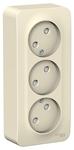 Изображение SE Blanca наруж Молочная Розетка 3-я б/з со шторками 16А, 250В, изолир. пластина