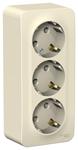 Изображение SE Blanca наруж Молочная Розетка 3-я с/з без шторок 16А, 250В, изолир. пластина