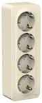 Изображение SE Blanca наруж Молочная Розетка 4-я с/з со шторками 16А, 250В, изолир. пластина