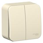 Изображение SE Blanca наруж Молочный Выключатель 2-клавишный 10А, 250B, изолир. пластина