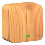 Изображение SE Blanca наруж Ясень Выключатель 2-клавишный с подсветкой 10А,250B, изолир. пластина