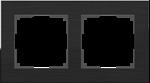 Изображение Рамка на 2 поста (черный алюминий)