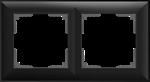 Изображение Рамка на 2 поста (черный матовый) Fiore