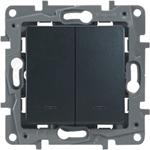 Изображение Legrand Etika Антрацит Выключатель 2-клавишный с подсветкой/индикацией, авт.клеммы, 10 AX, 250 В