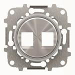 """Изображение ABB SKY Moon Накладка для 2-х суппортов/разъёмов типа 2017... или 2018..., со стальным суппортом, кольцо """"хром"""""""