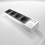 Изображение Розеточный блок 4-х местный + 3 USB белый/черный