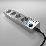 Изображение Розеточный блок 4-х местный + 3 USB серебряный/серебряный рифленый