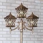 Изображение Уличный трехрожковый светильник на столбе IP44 Cassiopeya F/3 черное золото