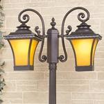Изображение Libra F/2 венге уличный двухрожковый светильник на столбе IP33