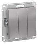 Изображение SE AtlasDesign Алюминий Выключатель 3-клавишный сх.1+1+1, 10АХ, механизм