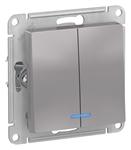 Изображение SE AtlasDesign Алюминий Выключатель 2-клавишный с подсветкой, сх.5а, 10АХ, механизм
