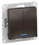 Изображение SE AtlasDesign Мокко Выключатель 2-клавишный с подсветкой, сх.5а, 10АХ, механизм