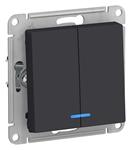 Изображение SE AtlasDesign Карбон Выключатель 2-клавишный с подсветкой, сх.5а, 10АХ, механизм