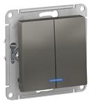 Изображение SE AtlasDesign Сталь Выключатель 2-клавишный с подсветкой, сх.5а, 10АХ, механизм