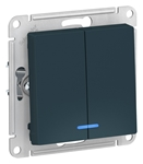 Изображение SE AtlasDesign Изумруд Выключатель 2-клавишный с подсветкой, сх.5а, 10АХ, механизм