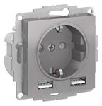 Изображение SE AtlasDesign Алюминий SO + USB Розетка A+A, 5В/2,4А, 2х5В/1,2А, механизм
