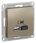 Изображение SE AtlasDesign Шампань USB Розетка A+С, 5В/2,4А, 2х5В/1,2А, механизм