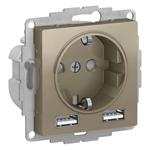 Изображение SE AtlasDesign Шампань SO + USB Розетка A+A, 5В/2,4А, 2х5В/1,2А, механизм