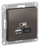 Изображение SE AtlasDesign Мокко USB Розетка A+С, 5В/2,4А, 2х5В/1,2А, механизм