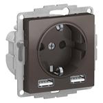 Изображение SE AtlasDesign Мокко SO + USB Розетка A+A, 5В/2,4А, 2х5В/1,2А, механизм