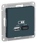 Изображение SE AtlasDesign Изумруд USB Розетка A+С, 5В/2,4 А, 2х5В/1,2 А, механизм