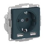 Изображение SE AtlasDesign Изумруд SO + USB Розетка A+A, 5В/2,4 А, 2х5В/1,2 А, механизм