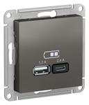 Изображение SE AtlasDesign Сталь USB Розетка A+С, 5В/2,4 А, 2х5В/1,2 А, механизм