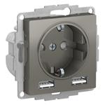 Изображение SE AtlasDesign Сталь SO + USB Розетка A+A, 5В/2,4 А, 2х5В/1,2 А, механизм