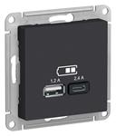 Изображение SE AtlasDesign Карбон USB Розетка A+С, 5В/2,4А, 2х5В/1,2 А, механизм