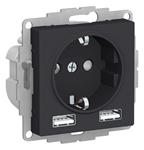 Изображение SE AtlasDesign Карбон SO + USB Розетка A+A, 5В/2,4А, 2х5В/1,2 А, механизм