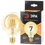 Изображение Лампа F-LED G95-7W-824-E27 gold ЭРА (филамент, шар зол, 7Вт, тепл, E27)